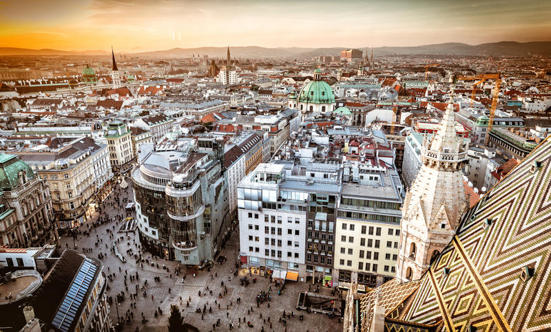 Vienna at sunset, aerial view from above the city stock images