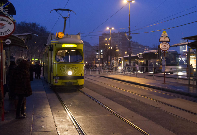 Vienna touristic tram `Ring` stock image