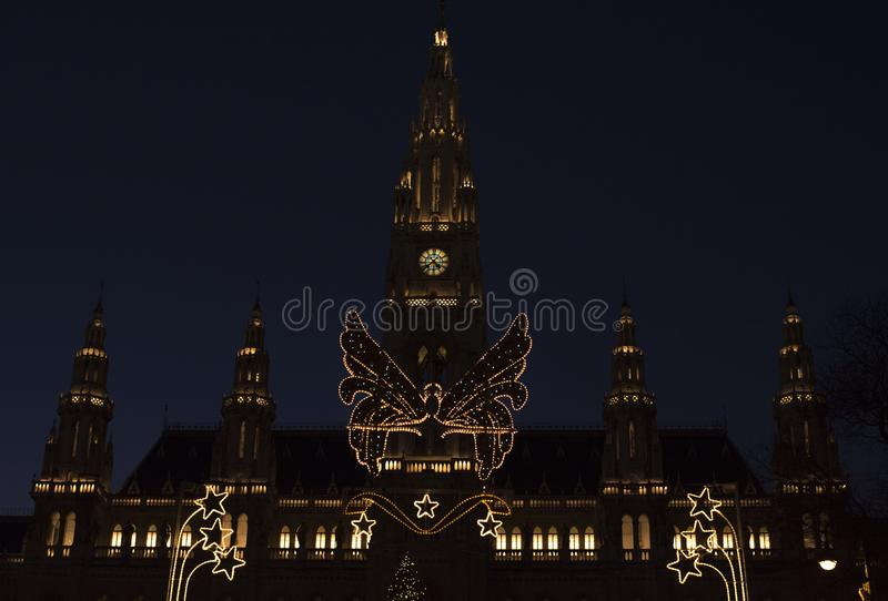Vienna town hall in Christmas time night royalty free stock photo