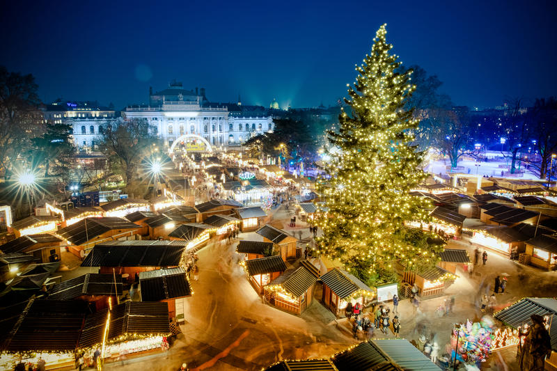 Vienna traditional Christmas Market 2016, aerial view at blue ho royalty free stock image
