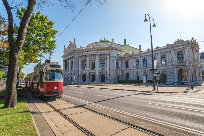 Vienna tram. Tram and Burgtheater, Vienna, Austria stock image