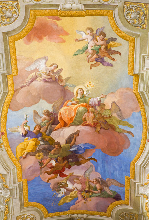 Vienna - Virgin Mary in heaven. Fresco over presbytery on the ceiling of baroque st. Annes church by Daniel Gran. VIENNA, AUSTRIA - FEBRUARY 17, 2014: Virgin royalty free stock photography