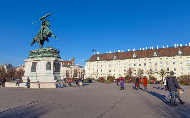 VIENNE, AUTRICHE - 24 DÉCEMBRE : Statue d'archiduc Charles sur le Heldenplatz à Vienne image libre de droits