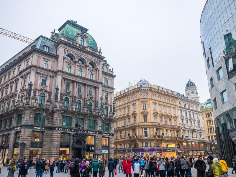 VIENNE, AUTRICHE 17 FÉVRIER 2018 : Vues de paysage urbain d'une de ` s de l'Europe la plupart de belle ville images libres de droits