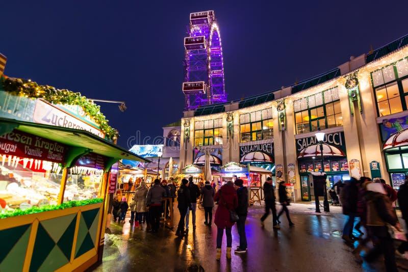 Vienne, Autriche - 1 12 2018 : Parc de prater de Vienne, Autriche Scène de nuit de la destination de touristes célèbre Atraction  images libres de droits