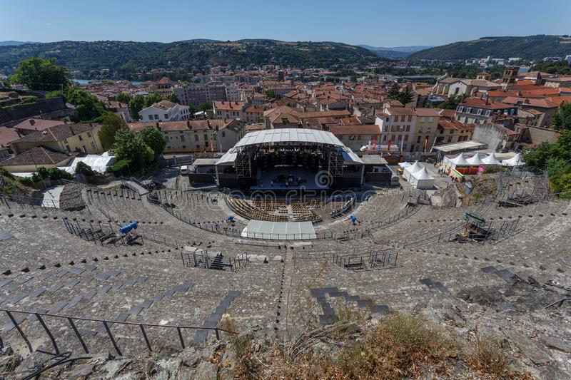 Ancient Roman theatre used for contemporary music festival, Vienne, France. VIENNE / FRANCE - JULY 2015: Ancient Roman theatre used for contemporary music royalty free stock images