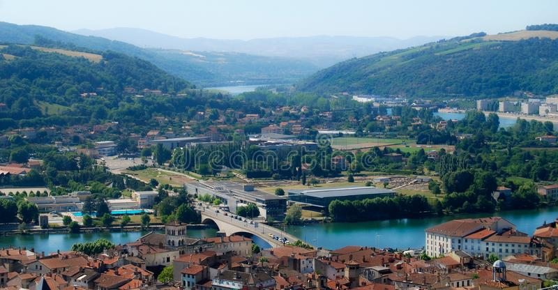 Vienne France Rhone River Aerial View royalty free stock photos