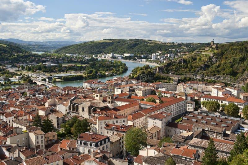 Vienne Francia y río de Rhone imagen de archivo