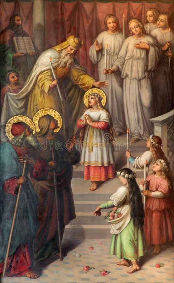 Vienne - la présentation de Vierge Marie dans le temple Peinture de 20 cent dans l'église Muttergotteskirche photo libre de droits