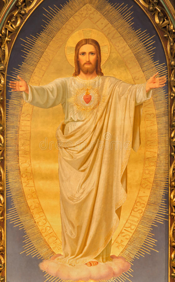 Vienne - le coeur de la peinture de Jésus sur l'autel principal de l'église de Sacre Coeur par Anna Maria von Oer (1846†«1929) photos stock