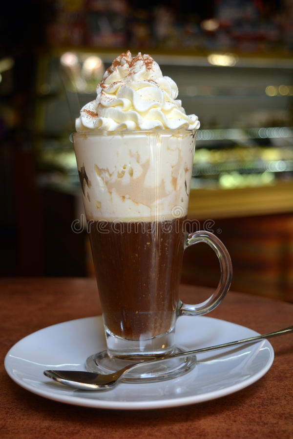 Viennese Coffee In Glass Cup With Whipped Cream stock photos