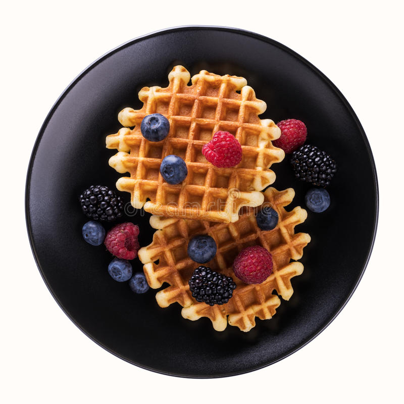 Viennese waffles with fresh blueberries stock photography