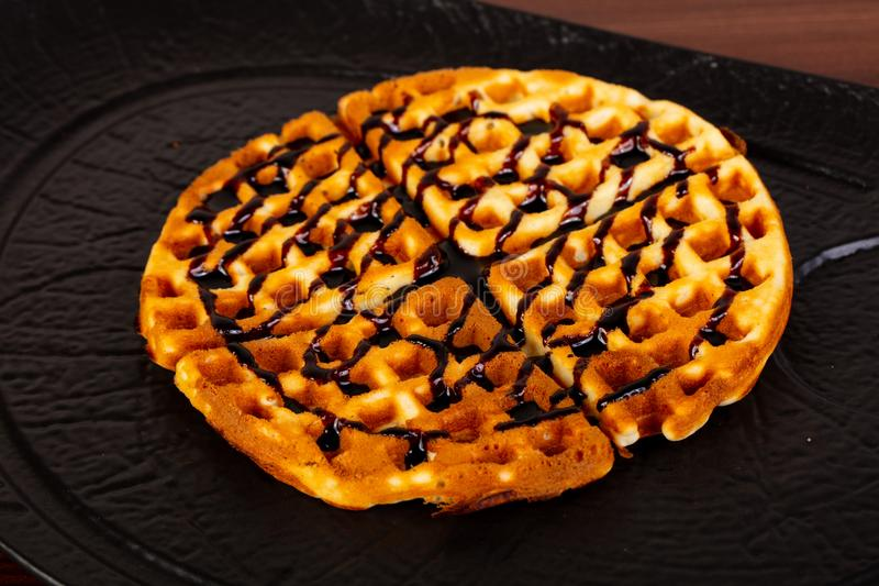 Viennese waffles with syrope stock photos