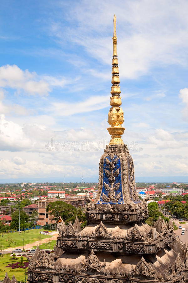 Vientiane, capital of Laos. Beautiful View from Patuxay monument royalty free stock photo