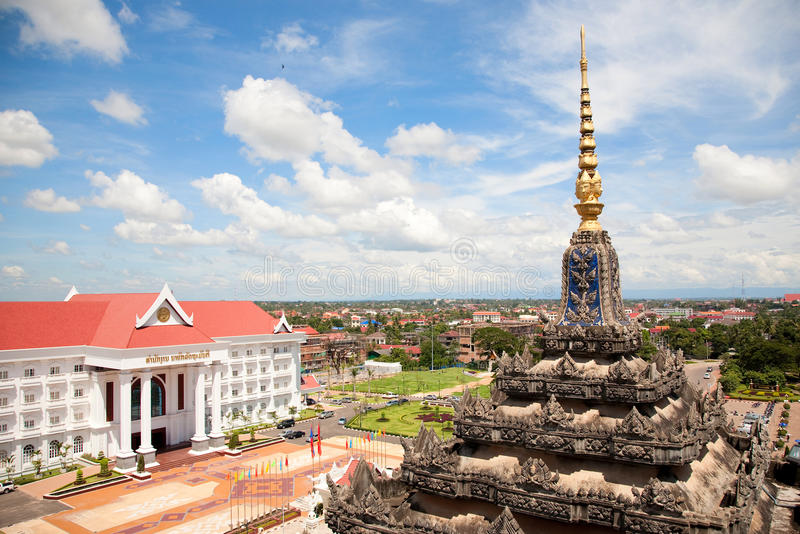 Vientiane, capital of Laos. Beautiful View from Patuxay monument royalty free stock image