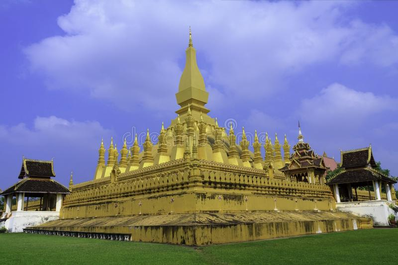 Vientiane kapitał Laos, Pha Który Luang obrazy royalty free
