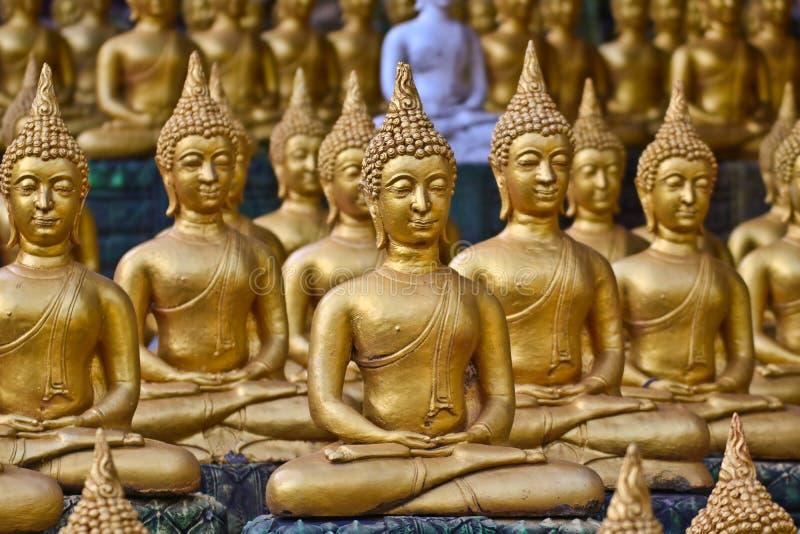 Vientiane landskap: 01 Maj 2019, Buddhastaty i Wat Sinxayyaram, buddismtr?dg?rden royaltyfri fotografi