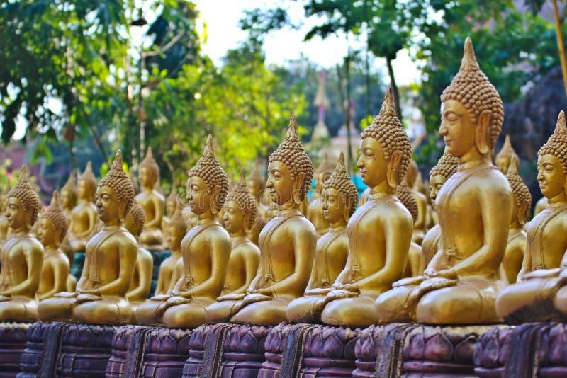 Vientiane landskap: 01 Maj 2019, Buddhastaty i Wat Sinxayyaram, buddismtr?dg?rden royaltyfri bild