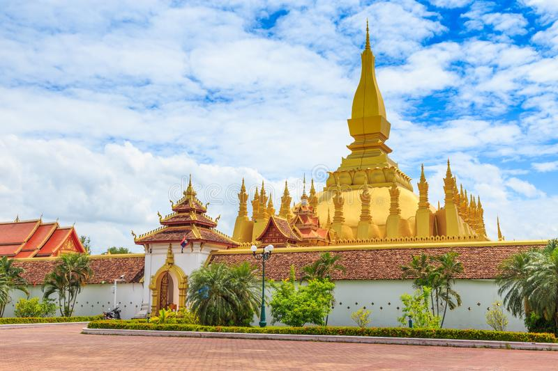 Vientiane Lao-July 6 2019 : Pha That Luang with blue sky background, Historical ancient golden pagoda religion place, View at. Vientiane Lao-July 6 2019-Pha That stock image