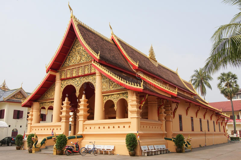 Vientiane, Laos, Asia. VIENTIANE, LAOS - FEBRUARY 21, 2016: Wat Ong Teu Mahawihan, one of the temples in Vientiane on February 21, 2016 in Laos, Asia royalty free stock photos