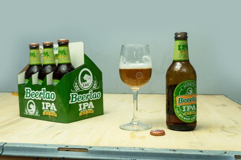 2020 01 08 Vientiane Laos, BeerLao IPA Limited Edition Crafty Beer imagem de stock