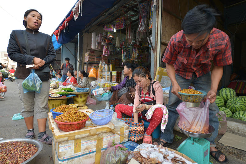 Vientiane, Laos. March 5: Unidentified people selling insects and larvae at Talat Sao on March 5, 2014 in royalty free stock images