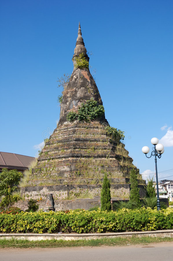 Vientiane, old stupa, Laos royalty free stock images