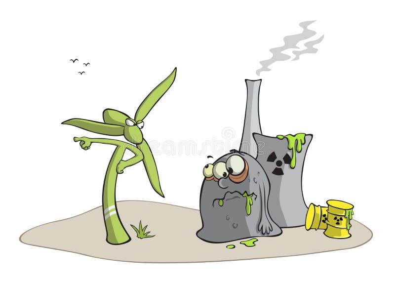 Viento contra arma nuclear stock de ilustración