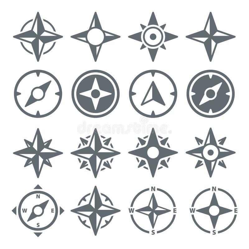 Viento Rose Compass Navigation Icons - ejemplo del vector stock de ilustración