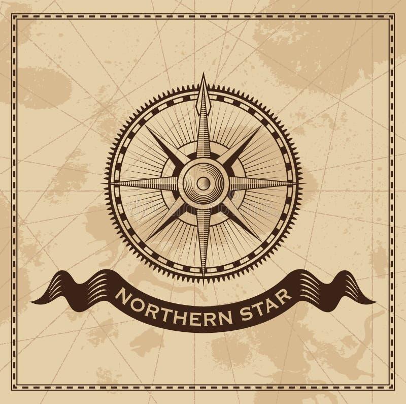 Viento Rose Nautical Compass del vintage stock de ilustración