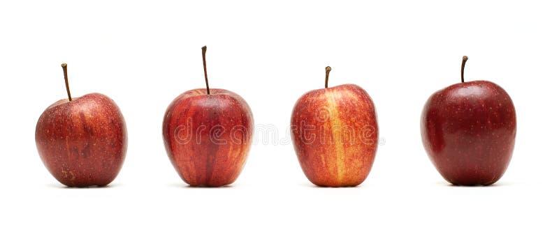 Vier Äpfel lizenzfreie stockbilder