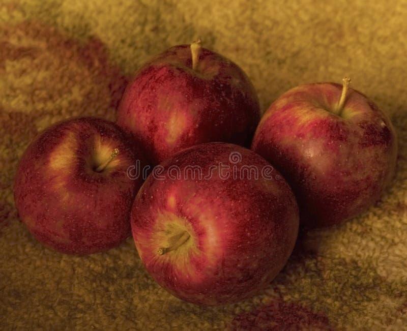 Vier Äpfel Nochlebensdauer lizenzfreies stockbild