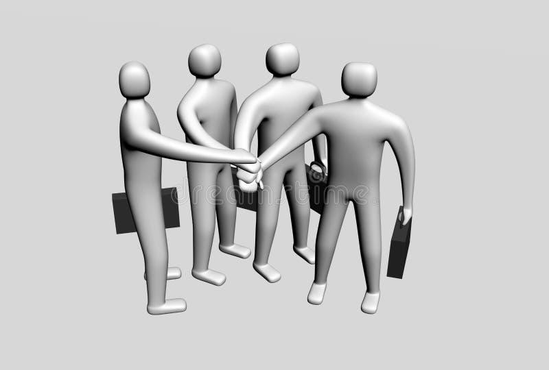 Vier 3d mensen die hun handen samenbrengen vector illustratie