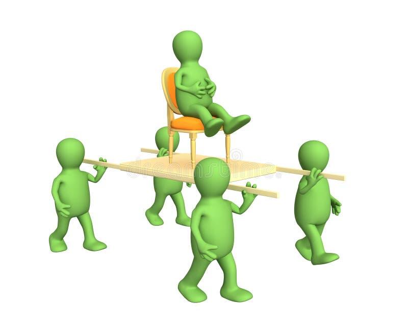 Vier 3d personen, die de leider op een brancard vervoeren vector illustratie