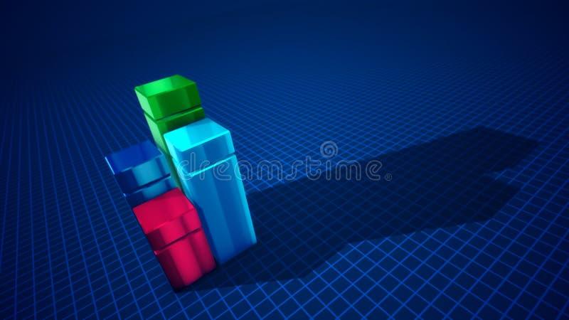 Vier abstracte kolommen die tot een diagram leiden vector illustratie