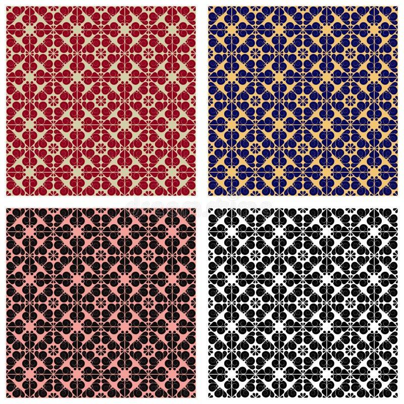 Vier abstracte naadloze patronen stock illustratie