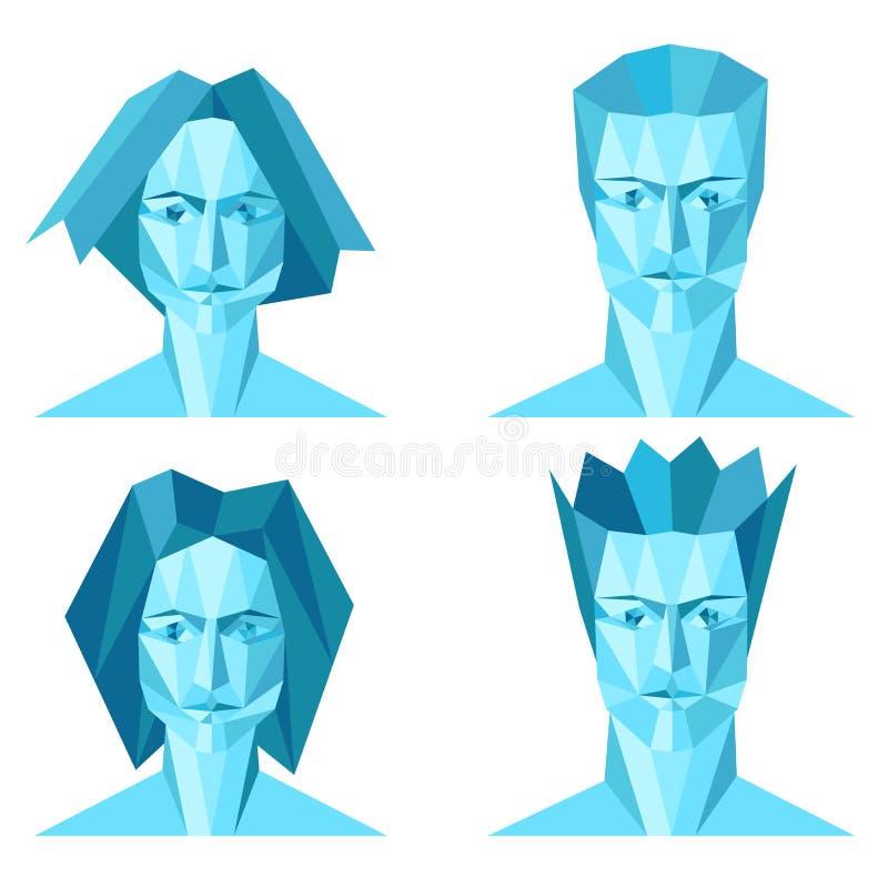 Vier abstracte veelhoekportretten royalty-vrije illustratie