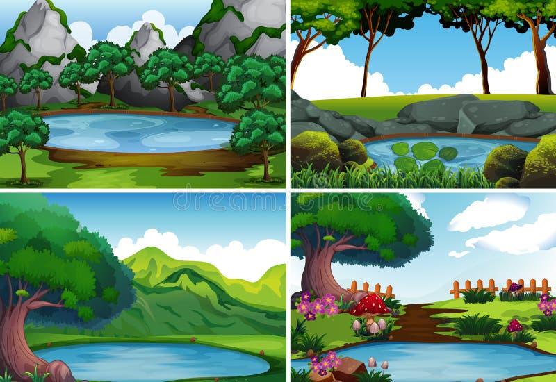 Vier achtergrondscènes met vijver in het park vector illustratie