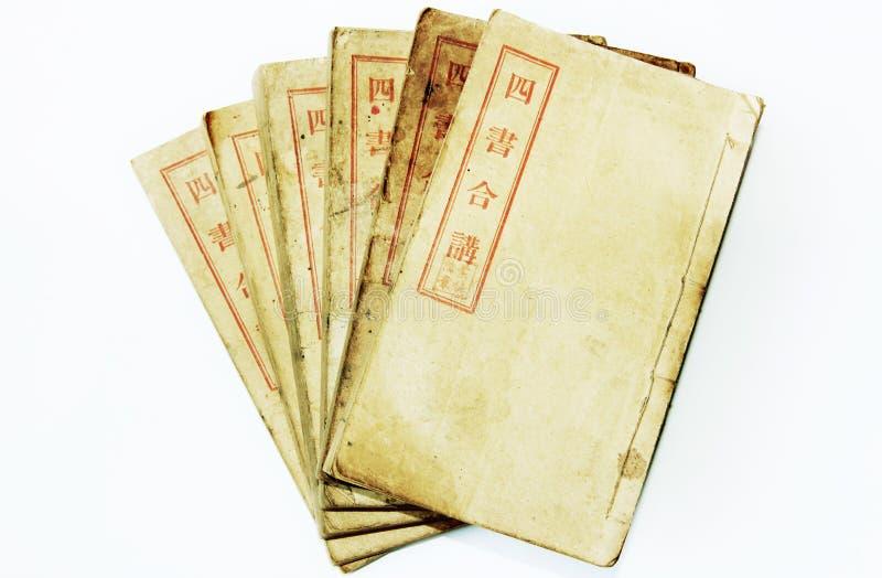 Vier alte chinesische Bücher stockfotografie