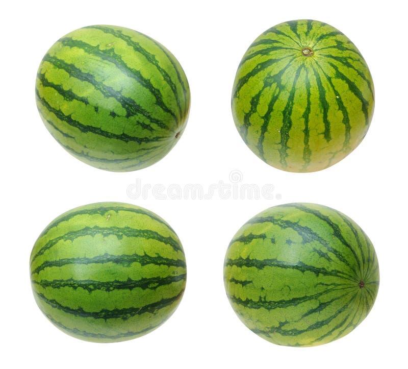 Vier Ansichten der Wassermelone lizenzfreies stockfoto