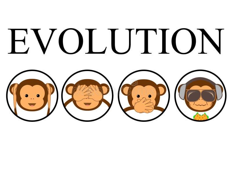 Vier apen royalty-vrije illustratie