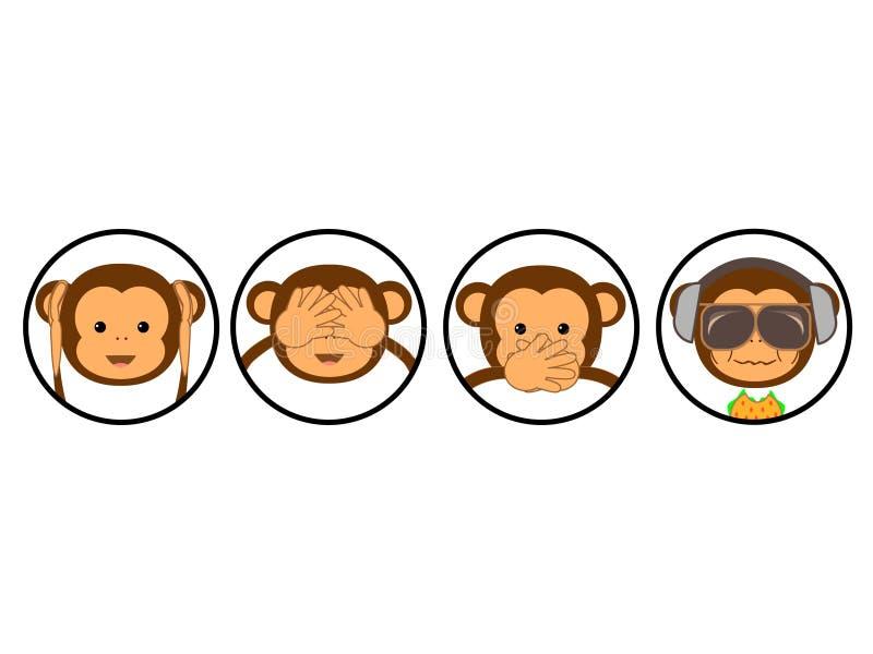 Vier apen vector illustratie