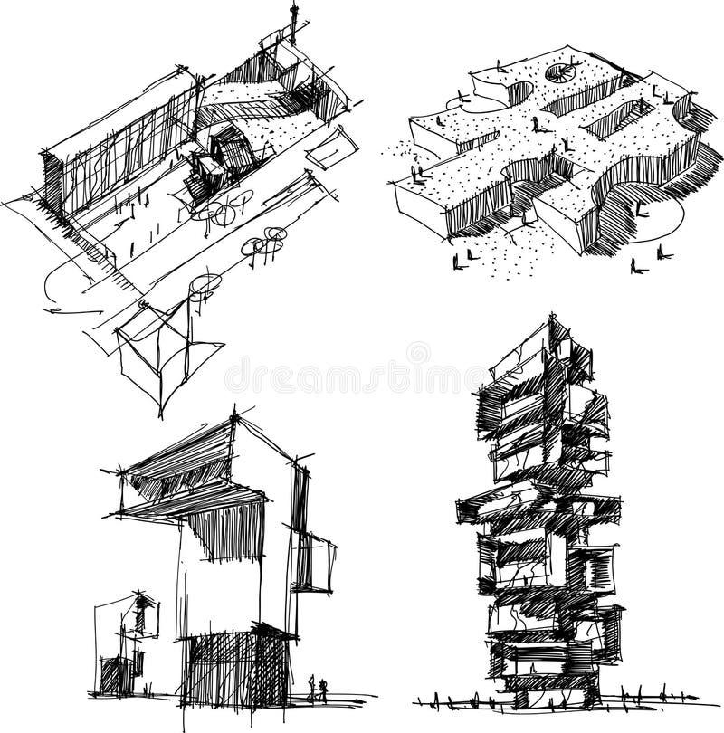 Vier architecturale schetsen van een moderne abstracte architectuur stock illustratie