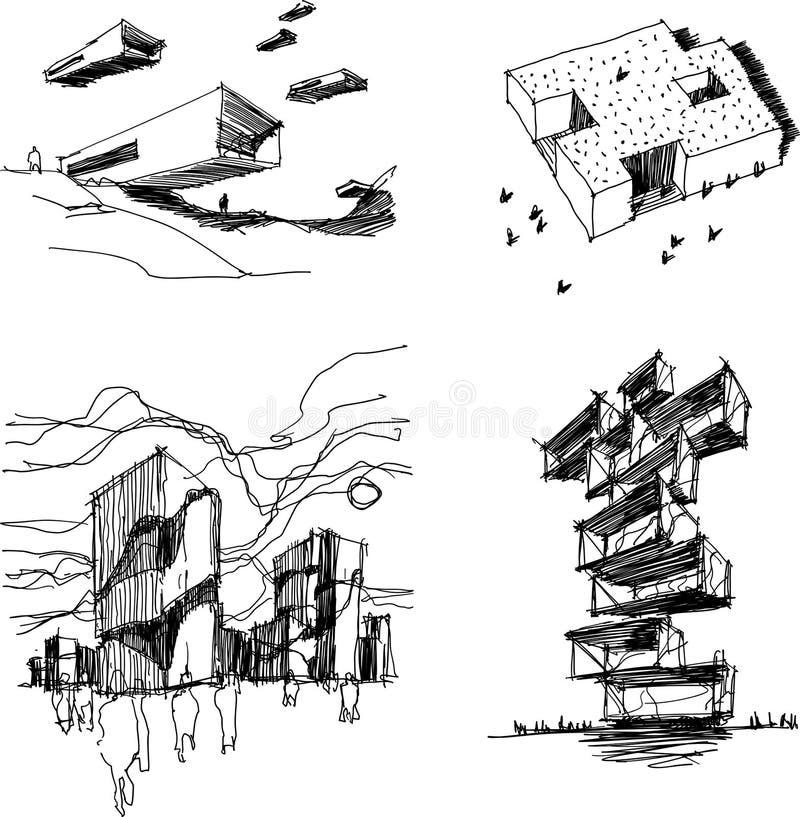 Vier Architekturskizzen der modernen abstrakten Architektur lizenzfreie abbildung