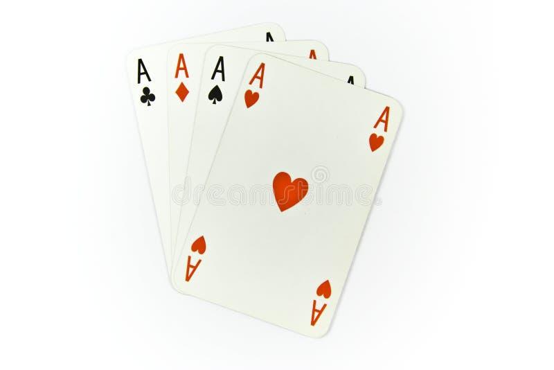 Vier Asse der Karten getrennt stockfoto