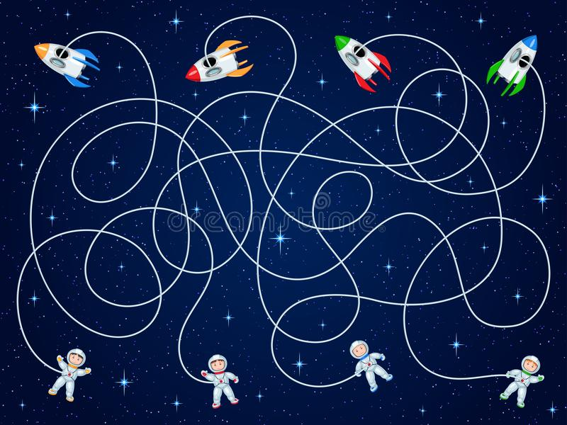 Vier Astronauten und Raumfahrzeug vier schwimmen in offenen Raum mit Sternen Entwirren Sie die Schläuche und schätzen Sie, wo das stock abbildung