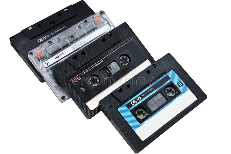 Vier Audiokassetten stockfoto