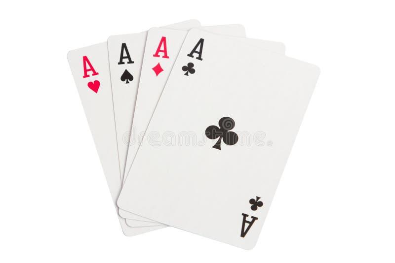 Vier Azen op wit stock afbeelding