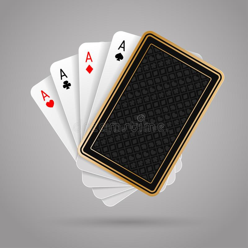 Vier azen in speelkaart vijf Winnende pookhand royalty-vrije illustratie