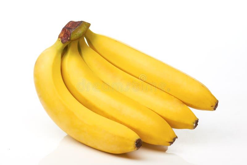 Vier Bananen auf Weiß lizenzfreie stockbilder